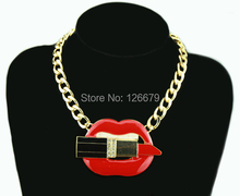 Hip Hop Makeup Enamel White Teeth Red Mouth Large Lips Lipstick Necklace