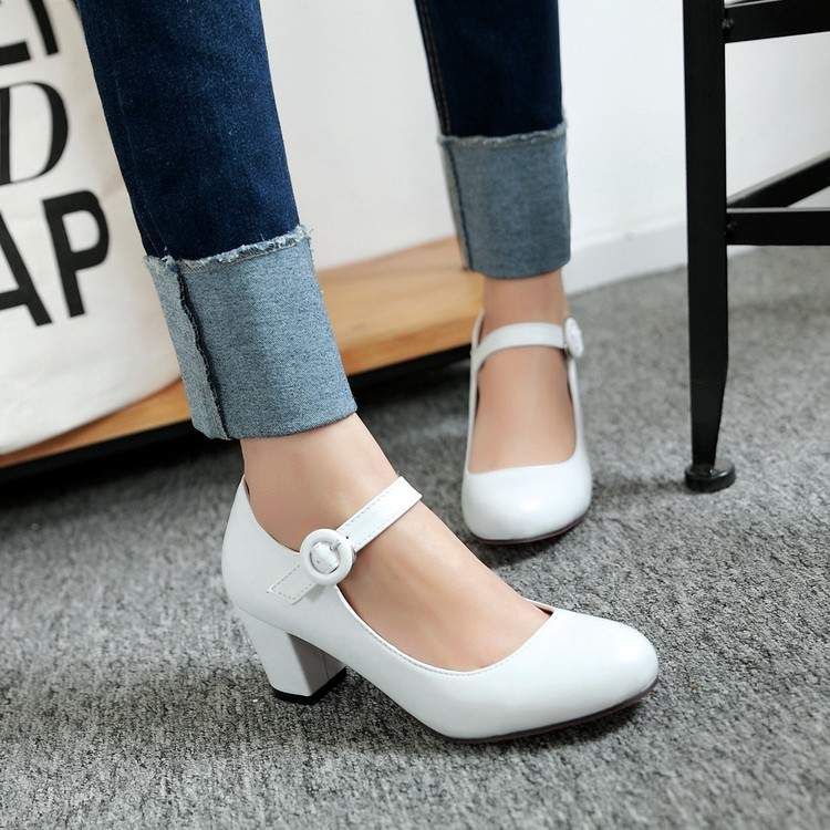 Fashion Women Shoes Mary Jane Ladies Round Toe High Heels White Wedding Shoes Thick Heel Pumps Lady Shoes Black Pink Plus Size