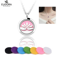 2016 New Round Silver Lotus Flower 25mm Stainless Steel Essential Oils Aromatherapy Locket Perfume Diffuser Necklace