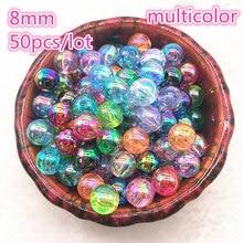 Nowy 50 sztuk 8mm AB kolor okrągły akrylowy koralik koraliki dystansowe luzem koraliki do tworzenia biżuterii DIY bransoletka #02
