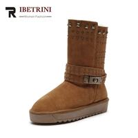 RIBETRINI 2017 Cow Suede Casual Snow Boots Warm Plush Large Size 33 43 Rivets Women S