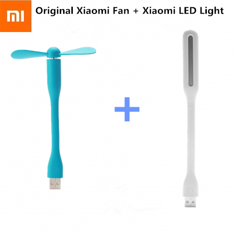 Original Xiaomi USB Fan + USB LED Light Mini Power-saving Quite Flexible Adjustable USB Fan Cooler for Power Bank creative usb fan flexible portable mini fan and usb led light lamp for xiaomi power bank