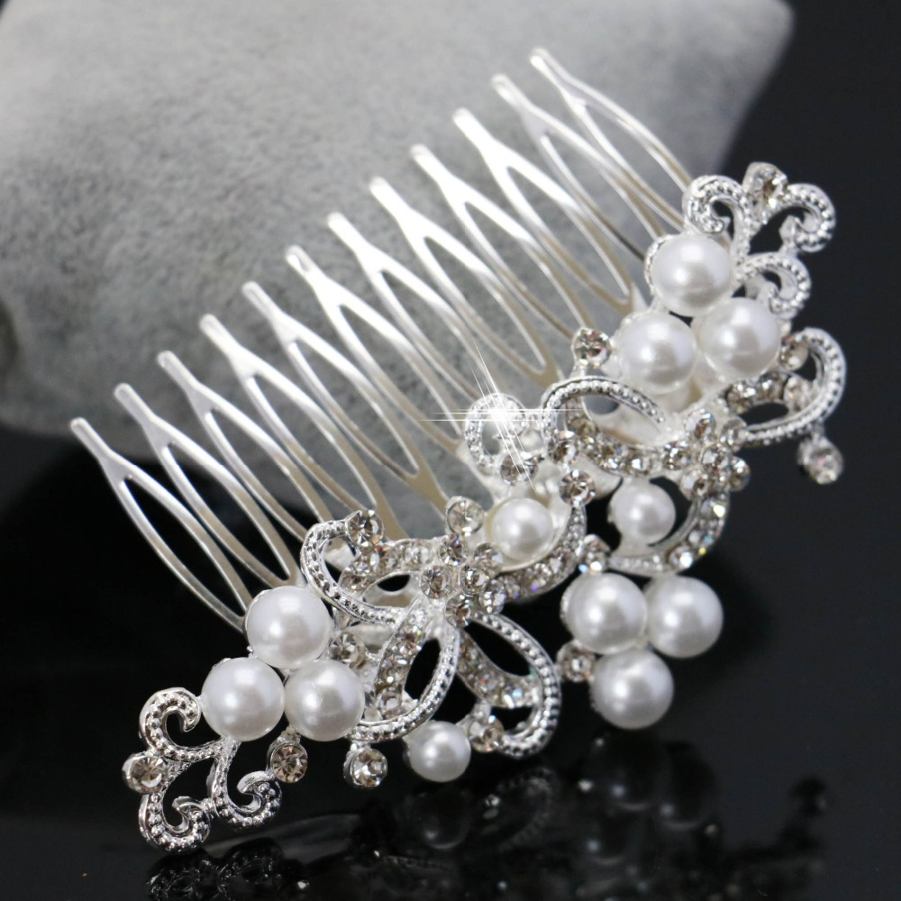 Trendy bridal headpiece - New Rhinestone Inlay Bridal Crown Tiara Wedding Bride Hair Jewelry Comb Trendy Women Hairwear Elegant Imitation
