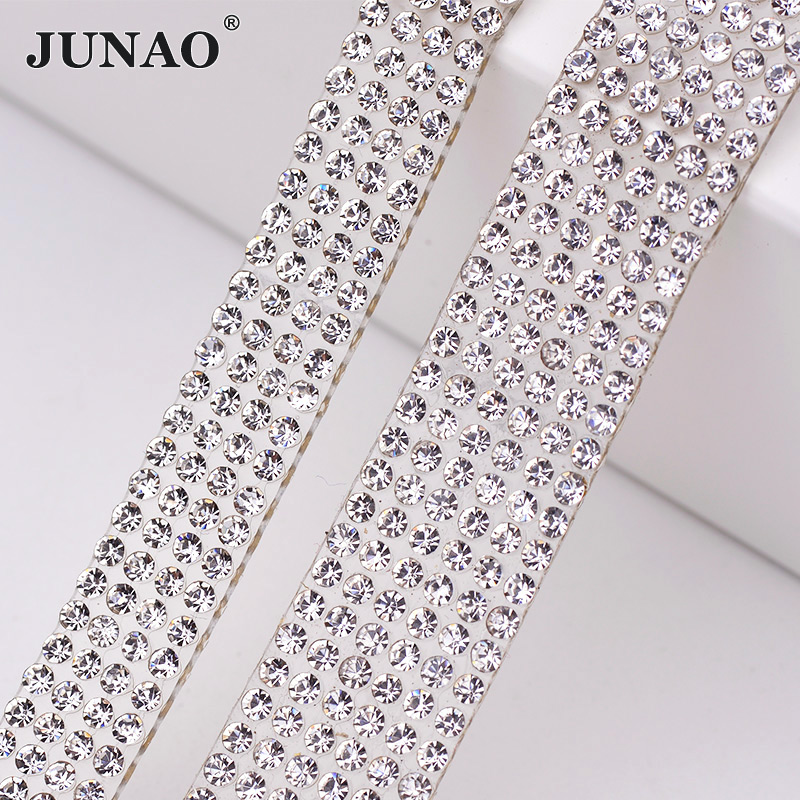JUNAO 5 Yard Hotfix Clear Glass Rhinestone Chain Trim Crystal Beads Fabric Applique Strass Banding For DIY Dress Home Decoration