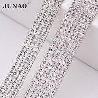 5 Yard 10mm 15mm Width Clear Rhinestones Chain Glass Strass Beads Trim Mesh Bridal Applique Crystal