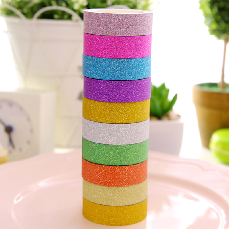 10 Color/Lot Glitter Tape Bling Bling Masking Tapes Deco Washitape For Diary Phone Album Stationery Office School Supplies 6923