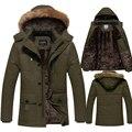 Tamanho 4XL 5XL Homens Jaqueta de Inverno Engrossar Longo Blusão Marca À Prova de Vento Parka Quente Casaco de Lã Com Capuz-30 Graus DJ026