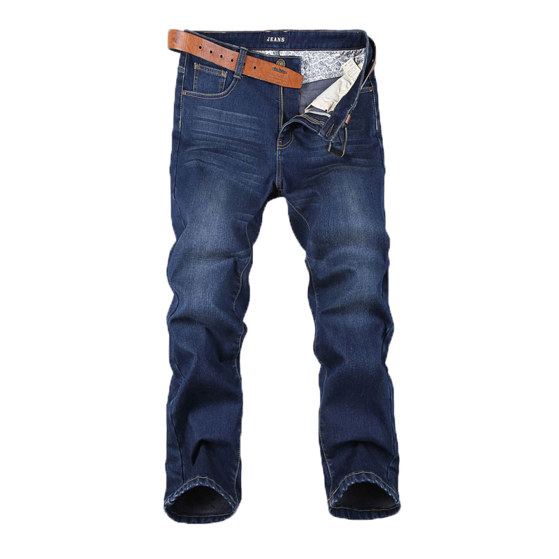 Large Size 44 46 48 Plus Cashmere Men Jeans High Elastic Leisure Loose Dark Blue Trousers Work Breathable Pant Winter Models