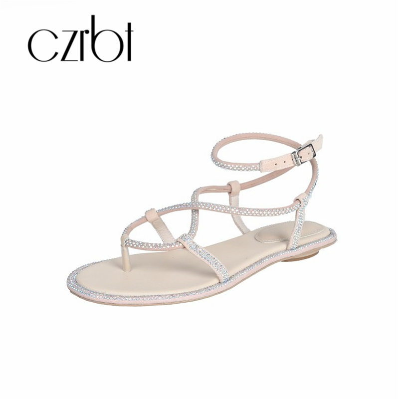 CZRBT 2019 Trendy Beads Decorative Sexy Leather Ladies Sandals Hand made Non slip Comfortable Cool Flat heeled Ladies Sandals