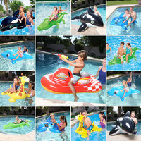 Animal Model Children Seat Chair Swimming Ring Dolphin Crocodile Swim Ring Boy Girl Water Toys Water Sport Games Floating Animal
