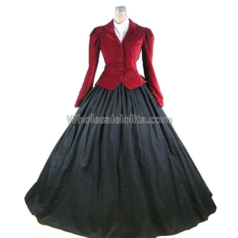 Premium Velvet Victorian Edwardian Downton Abbey Dress 3-PC Riding Habit Theater Reenactment Women Costume Coat