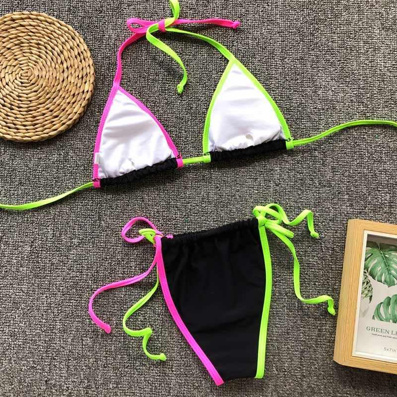 c7ea40a107 ... Swimwear Women 2019 New Micro Triangle Brazilian Thong Neon Bikini set  Push up Sexy Swimsuit Female