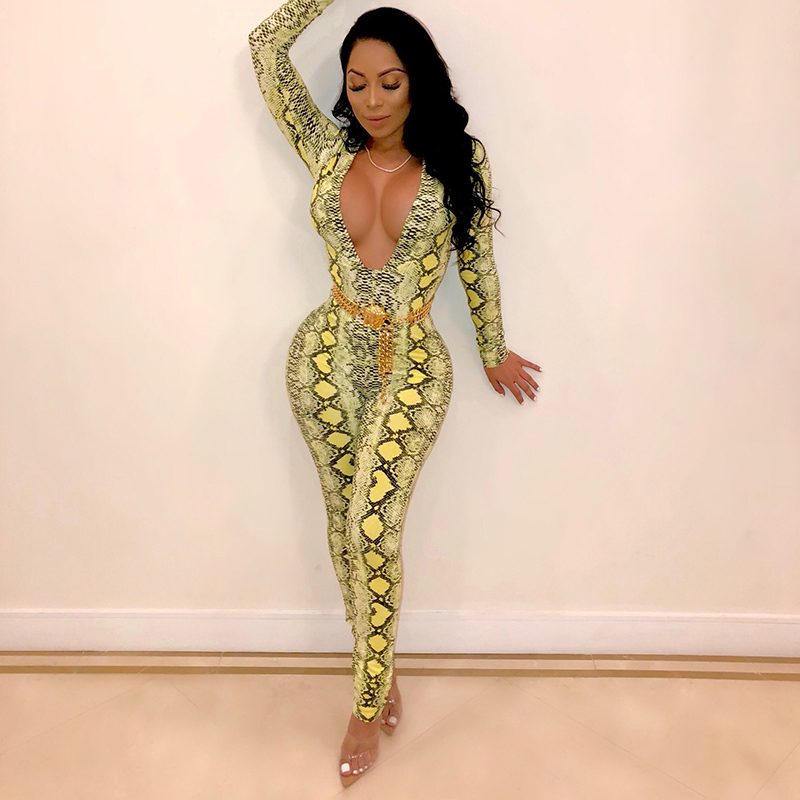 2019 New Snake Skin Print Sexy Jumpsuit Streetwear Deep V-neck Long Sleeve Overalls One Piece Bodycon Rompers Womens Jumpsuit
