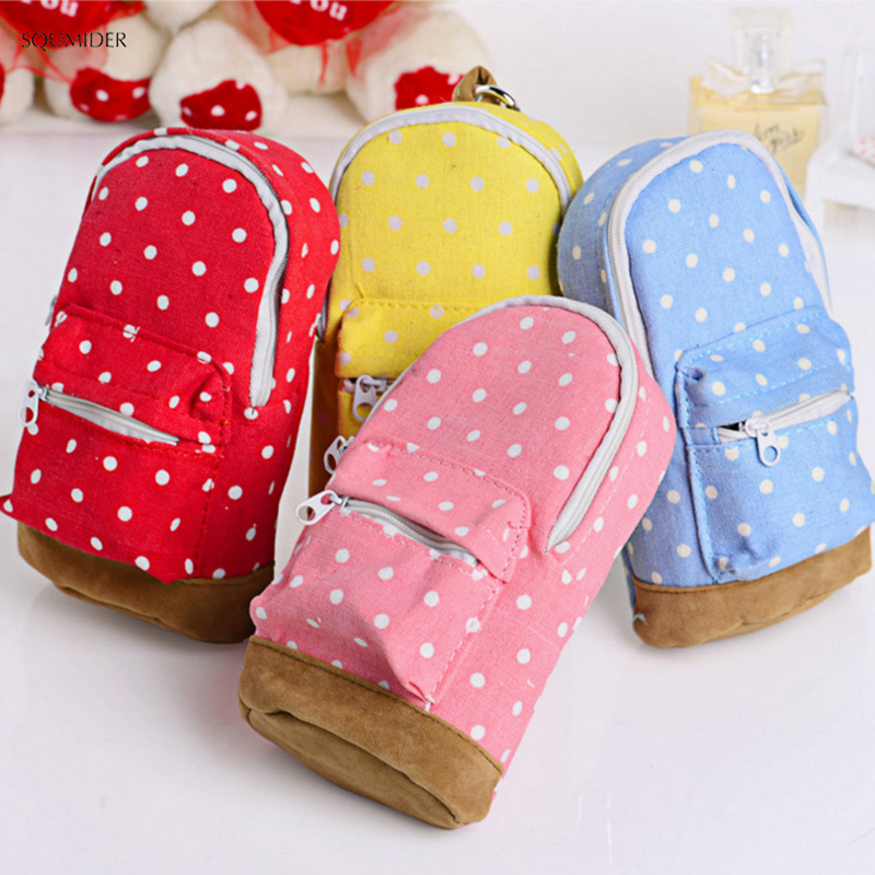 Cute Creative Pencil Cases Big Capacity Canvas Backpack Polka Dot Pencil Bag Storage Cosmetic Bags For Women School Office