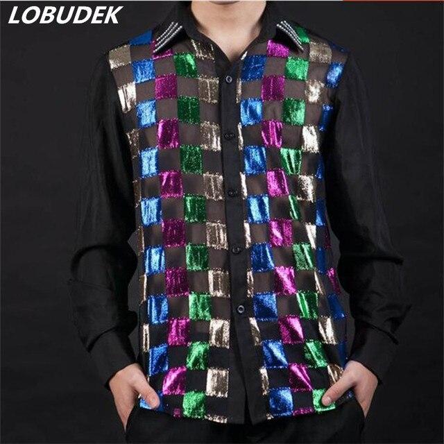 22868c70f69ad2 Kolorowe męskie koszule Bar nocny piosenkarka etap wydajność klientów  mężczyźni szczupła koszula z długim rękawem party