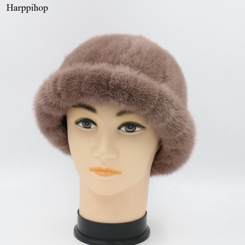 Harppihop Caps 100% Real Mink Fur Hat Bonnet Fashion Women Lady Girl Skullies Beanies Cap Thickening Keep Warm skullies beanies mink mink wool hat hat lady warm winter knight peaked cap cap peaked cap