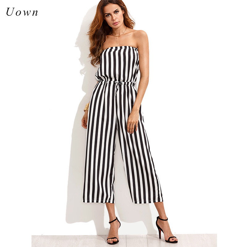 Off the Shoulder Strapless Jumpsuit Women Black Striped Wide Leg Long Rompers One Piece Casual Summer Playsuits Party Overalls