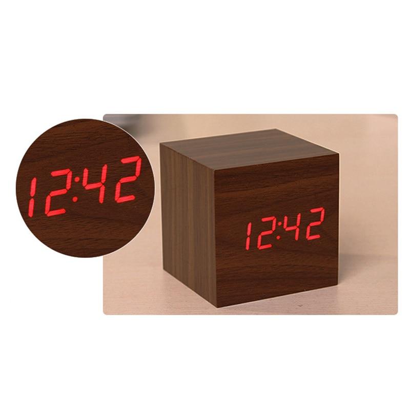 Cube LED Wooden Alarm Clock Modern Sound Control Square Desktop Table Digital Retro Glow Clock