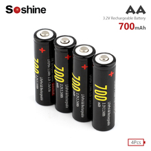 4Pcs High Quality Original New Soshine 14500 AA Battery 3.2V Li-ion Rechargeable Battery Real Capacity 700mah for flashlight