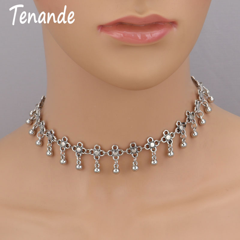 Tenande Vintage Bohemian Tattoo Clavicle Chain Necklaces Beads Flowers Tassel Necklaces & Pendants for Women Charm Jewelry Gifts(China)