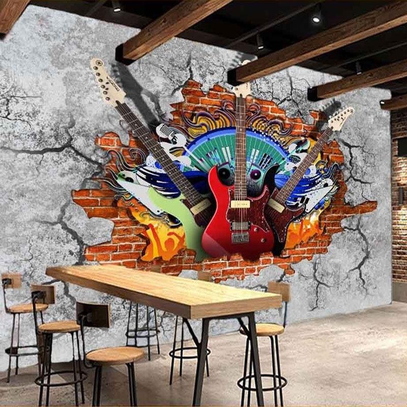 Custom 3D Murals Wallpaper Guitar Rock Graffiti Art Broken Brick Wall KTV Bar Tooling Home Decoration Wall Painting Mural Fresco