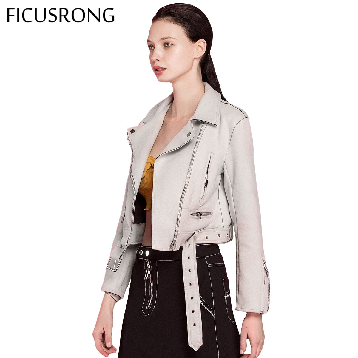 2019 New Autumn Winter Women Motorcycle Faux PU   Leather   Beige Pink Jackets Lady Biker Outerwear Coat with Belt 6 Color FICUSRONG