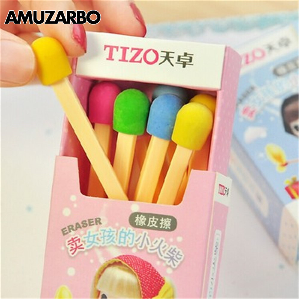 8 Pcs/lot Cute Kawaii Matches Eraser Creative Funny Colored Eraser For  Students Kids Creative Item Gift School Supplies