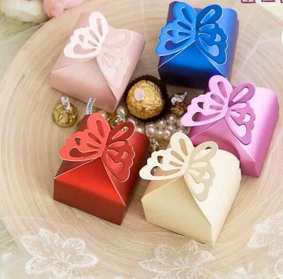 Бабочка квадратная бумажная коробка с узором шоколадный подарок, конфеты коробка для свадьбы, дня рождения, Чай Вечерние, оптовая продажа