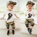 2015 new summer Korean 100% Cotton version Camouflage Style kids clothes baby boy 1set Short sleeve + pants sport suit 0-3 year