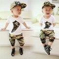2015 nova versão Coreana do verão 100% Algodão Camuflagem Estilo de roupa dos miúdos bebê menino de 1 conjunto de manga Curta + calça esporte terno 0-3 ano