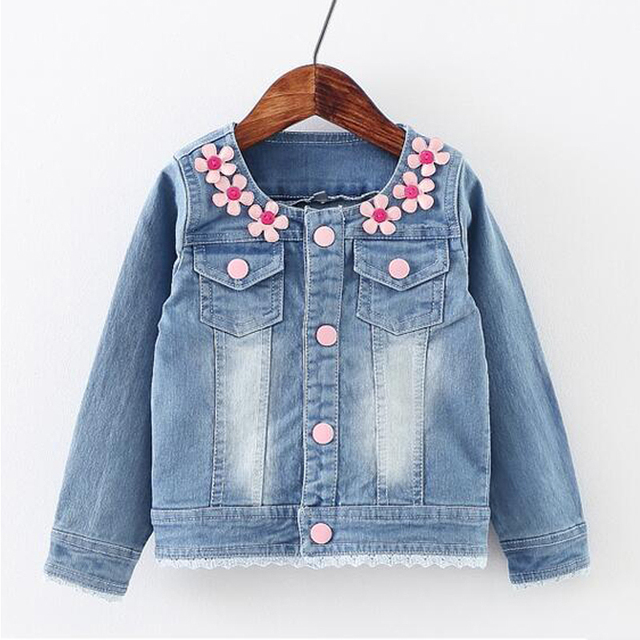 e41a42e65 New Autumn Children Embroidery Baby Girls Denim Jacket Kids Clothes Floral  Jeans Coat Baby Outwear Spring Flower Decoration Coat