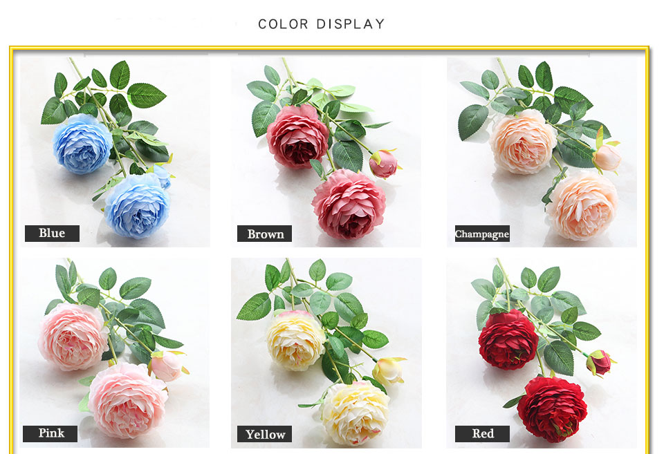 Artificial Flowers 3 Heads White Yellow Peonies Silk Flowers Peony Artificial Flower Wedding Decor for Home Peonies Color_04