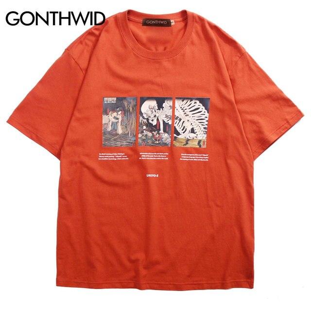 GONTHWID Japanischen Ukiyo-e Schädel T-shirts Streetwear Männer Hip Hop Harajuku Kurzarm Top Tees Sommer Männlichen Mode Casual T Shirt