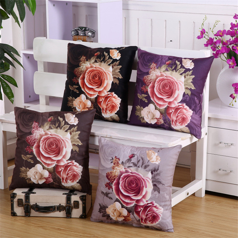 100 polyester red flower cushion home decor cover double side printed decorative pillows case funda ch177 natural side chair walnut ash