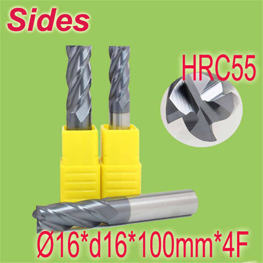 Free Shipping  16*d16*100mm*4F  HRC55  Tungsten Carbide Square End Mill 4F Flat Spiral Flute Endmill Cutter