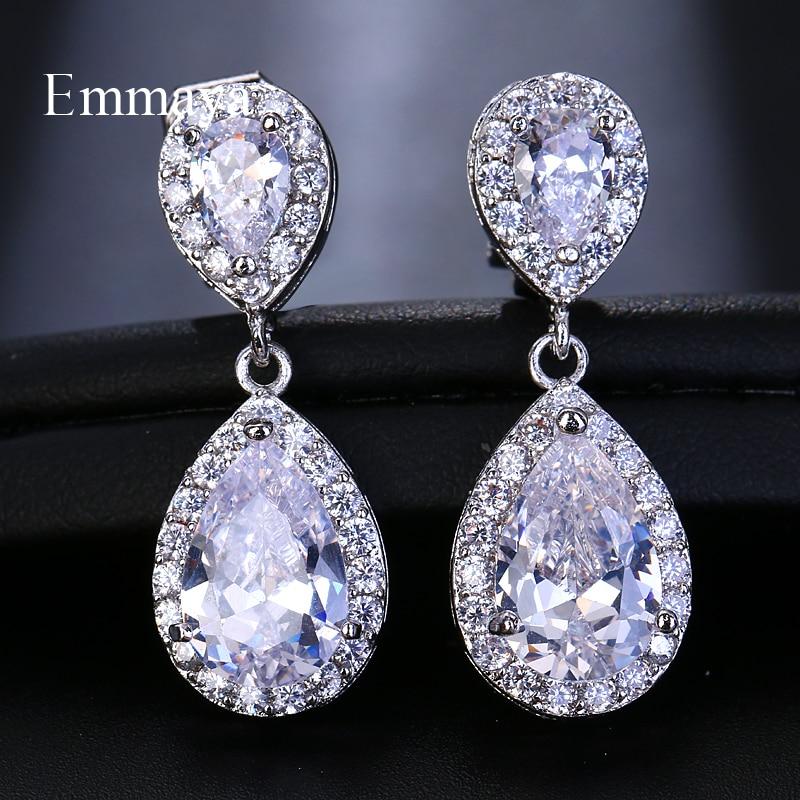Emmaya Fashion Jewllery Silver Drop Zircon Clip Earrings Without Piercing Puncture Earrings For Women Wedding Jewelry