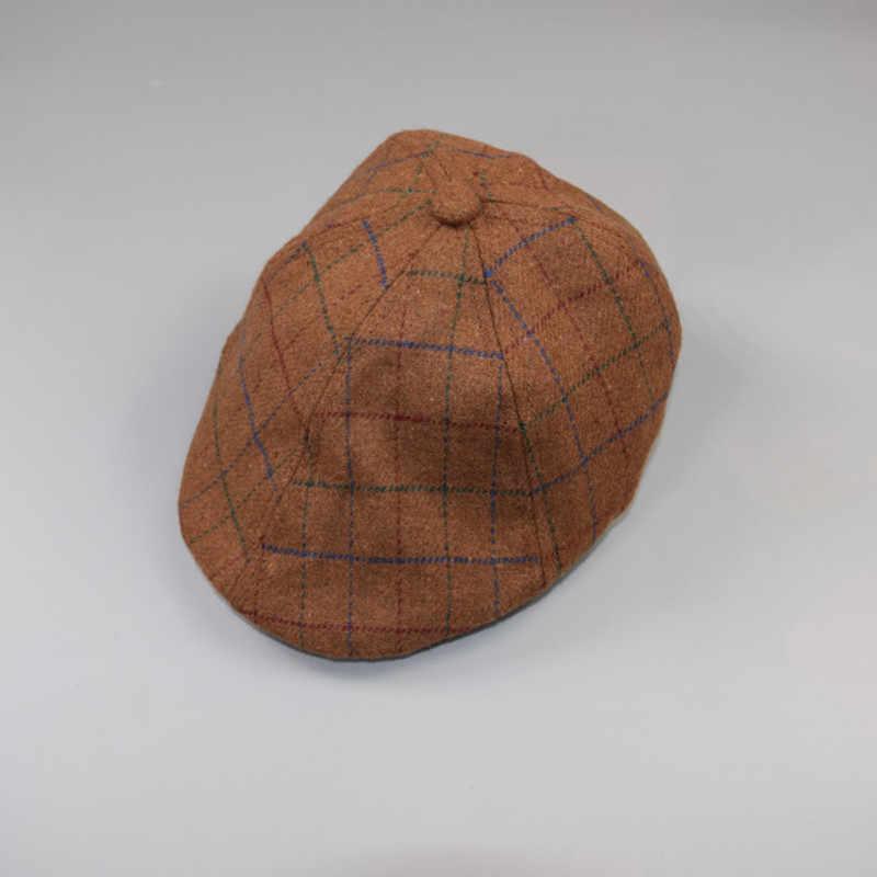 เด็กวัยหัดเดินเด็ก Beret หมวกเด็กทารกฤดูหนาวลายสก๊อต Ivy แบนหมวก Flatcap
