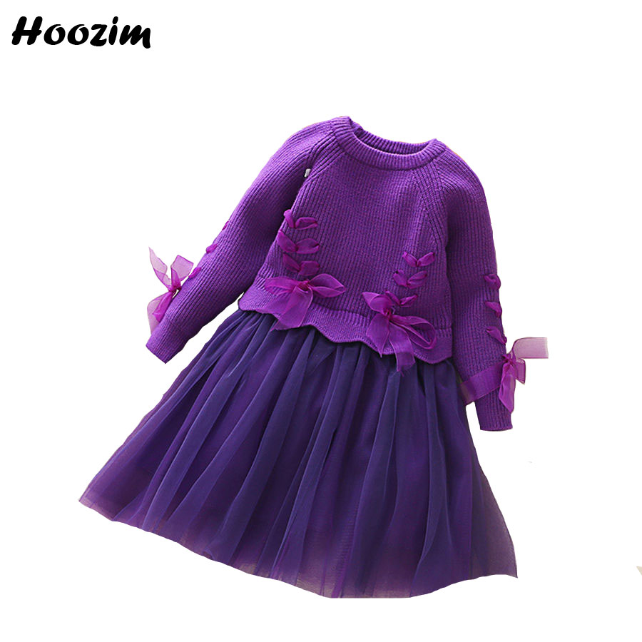 все цены на Spring Purple Knitted Long Sleeve Dress Girls 6 7 8 9 Years Beautiful Crochet Ruffle Thick Dresses Kids Autumn Yellow Gown Child