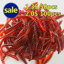 100Pcs/lot 6cm/0.5g Simulation Earthworm red Worms Artificial Fishing Lure Tackle Soft Bait Lifelike Fishy Smell Lures Red
