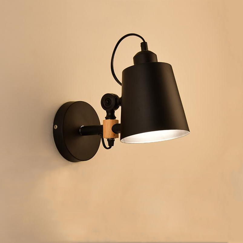Nordic Wall lamp modern minimalist creative bedroom bedside balcony warehouse study aisle porch wood wall light bra sconce in Wall Lamps from Lights Lighting