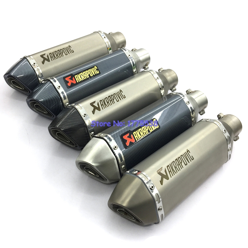 Universal Motorcycle Akrapovic Exhaust Muffler ID:51mm L:370mm Stainless Steel Carbon Face Motorbike Muffler Escape DB Killer