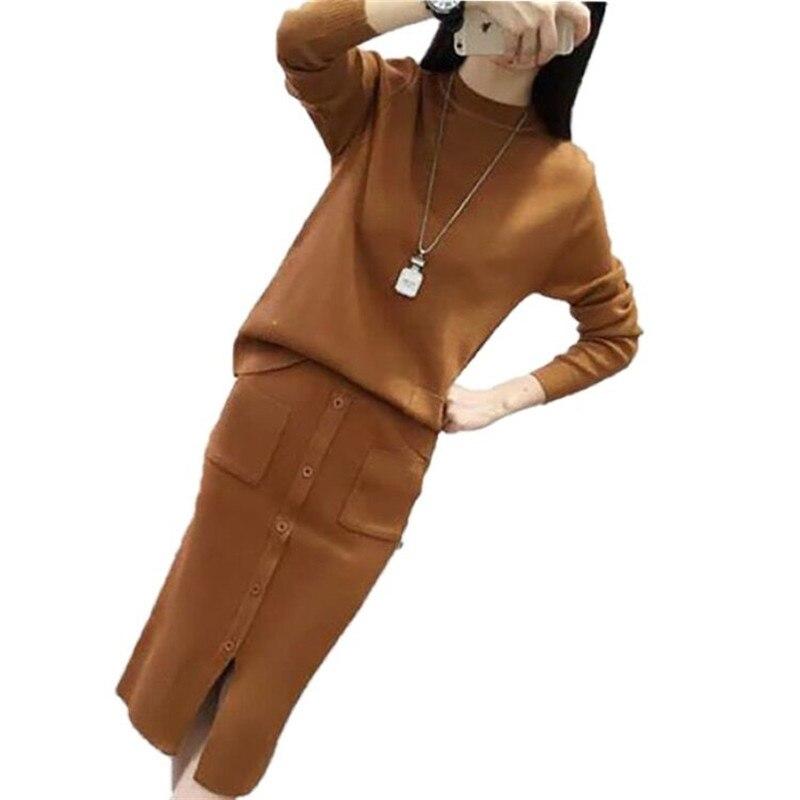 Tops Pièces noir Femme Robes Robe Z112 Chandail Se Longues Tricots 2 Bouton Casual Femmes Automne gris Tuo Manches Pull Set Costume Hiver Tricoté wOgxX1qZ
