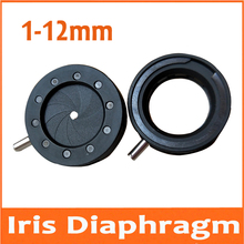 Durable 1-12mm Amplifying Diameter Metal Zoom Optical Iris Diaphragm Aperture Condenser for Digital Camera Microscope Adapter 0 11 7mm amplifying diameter zoom optical iris diaphragm aperture condenser 6 blades for digital camera microscope adapter