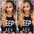 1B 27 Body Wave Human Hair Full Lace Front Lace Wigs For Black Women Two Tone Ombre Blonde Full Lace Wig With Baby Hair