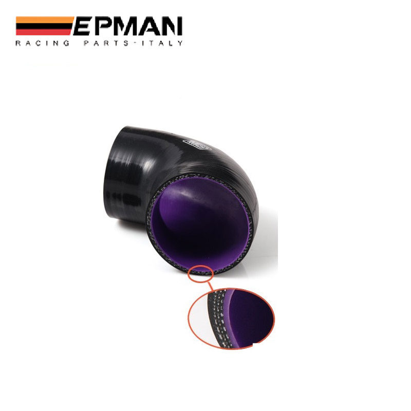 EPMAN 2.75-3 70mm-76mm 3-Ply Silicone 45 Degree Elbow Reducer Hose Black With Purple