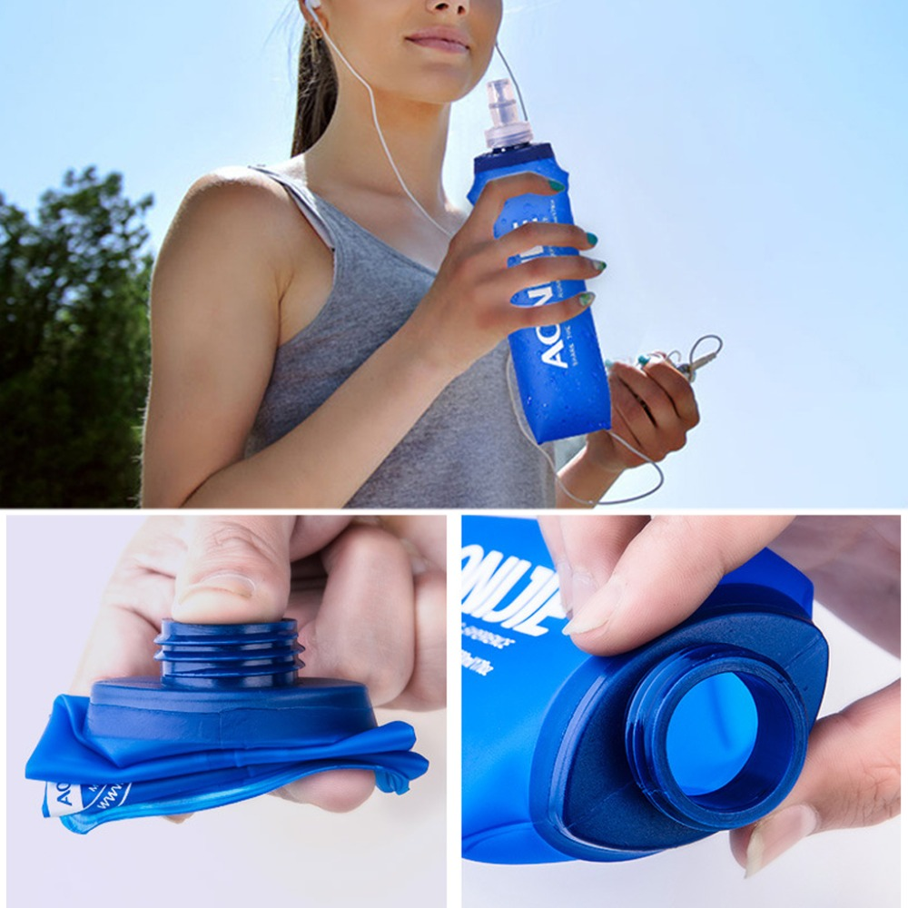 170ml -500ml Foldable Soft Flask TPU Squeeze Outdoor Sports Running Water Bottle