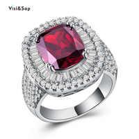 Visisap Retro Rubby Große Rot Rot Zirkon Ring Icedout Volle Stein Anniversary Party Geschenke Ringe für Frauen Mode Schmuck B1140