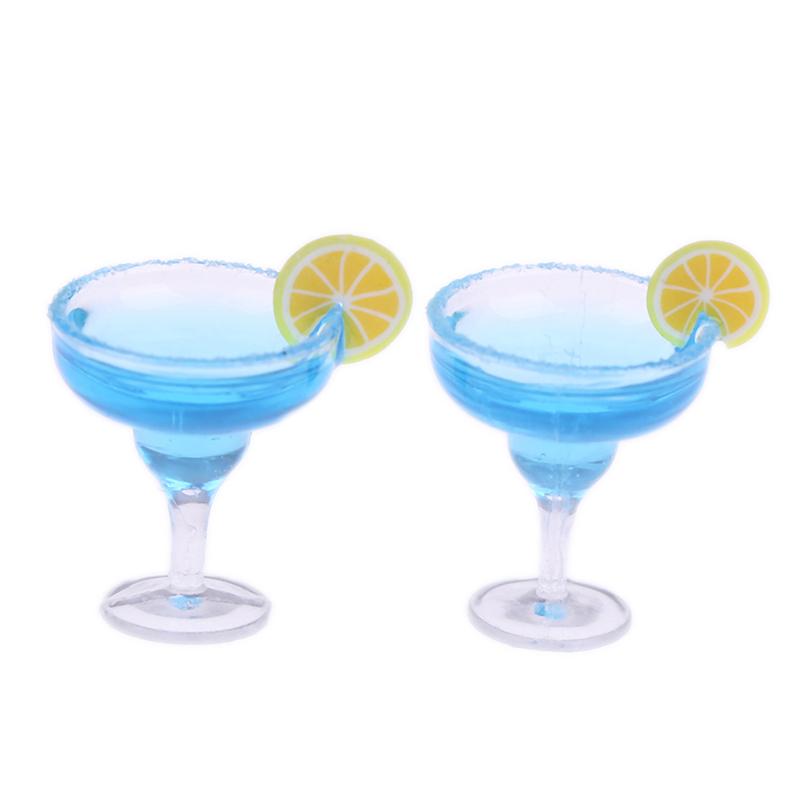 2Pcs 1/12 Mini Resin Cocktail Cup Simulation Drink Glass Model Toy Doll House Decoration Dollhouse Miniature Accessories