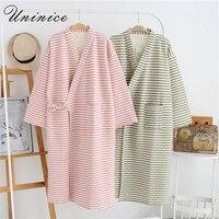 Japanese Pajamas Yukata Robes Kimono Sets Striped Winter Warm Thickening Cotton Suits Couples Dress Sleepwear Bathrobe Leisure