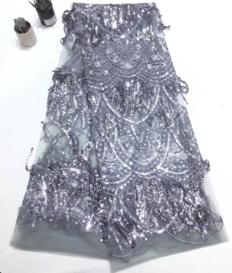 5yards pc fashion African sequins lace fabric silver gray color French net lace fabric with